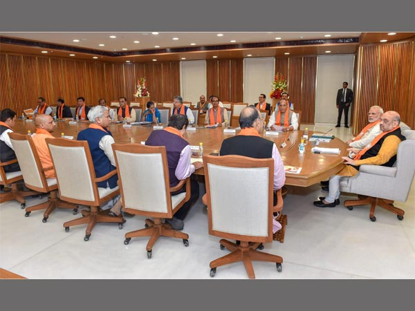 Prime Minister Narendra Modi, BJP President Amit Shah and parliamentary board members in a meeting with the party chief ministers, at the party headquarters in New Delhi