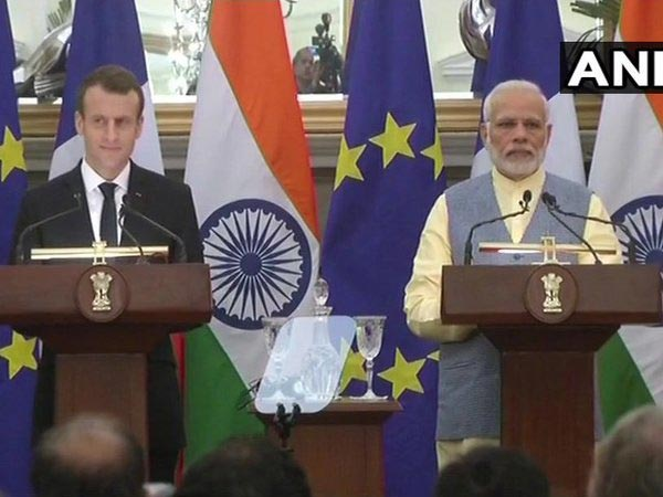 PM Modi and French President Macron issues joint statement. Courtesy: ANI news