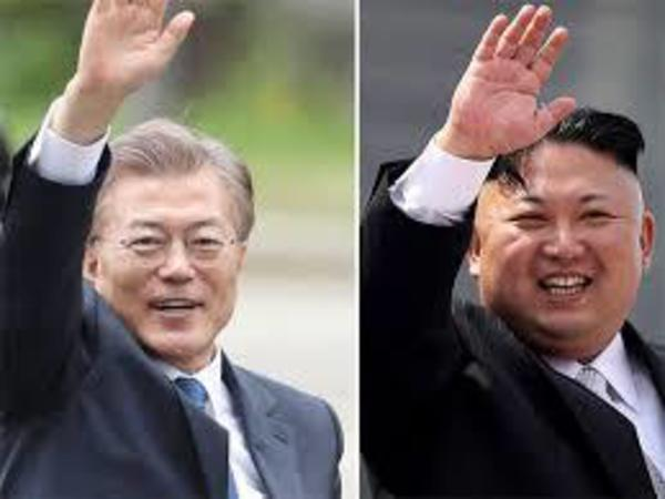 South Korea Presdient Moon Jae-in and North Korea supreme leader Kim Jong-un. PTI file photo