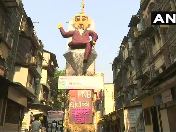 Effigy of PNB scam accused Nirav Modi in Mumbai. Courtesy: ANI news