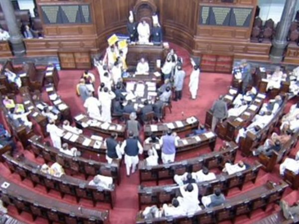 Rajya Sabha adjourned till 2pm after protests over Andhra Pradesh special category status and PNB scam. Courtesy: ANI news