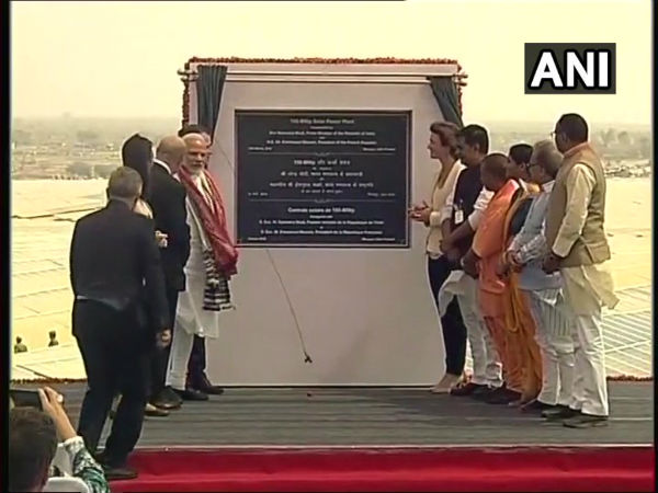 PM, Macron inaugurate Solar Power Plant