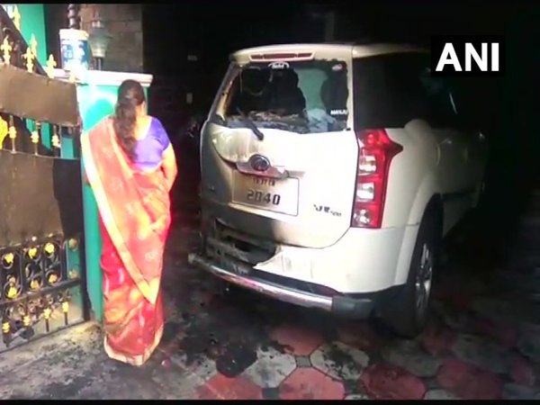 Petrol bomb hurled at BJP leaders car in TN (Image courtesy - ANI/Twitter)