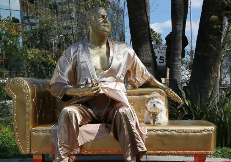 Harvey Weinstein 'casting couch' statue appears near Oscars site