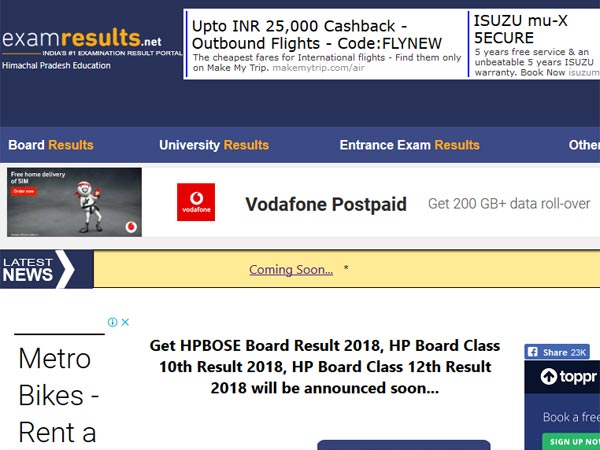 HPBOSE 12th result 2018 declared, how to check