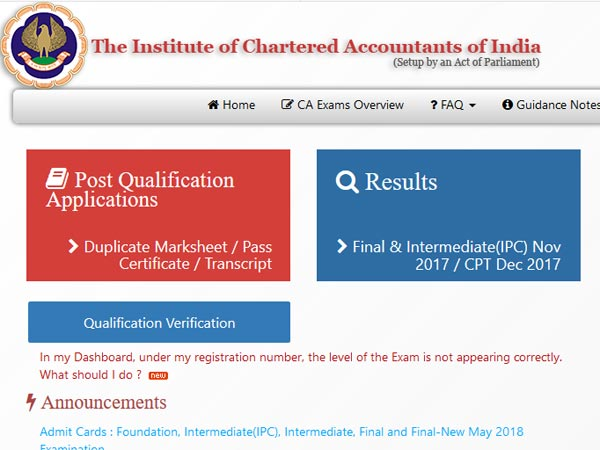 How to download ICAI May Exam Admit card