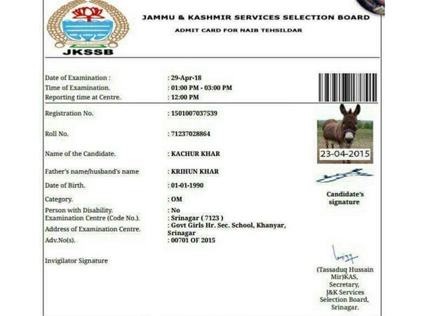 This donkey will appear for a recruitment exam in Jammu and Kashmir