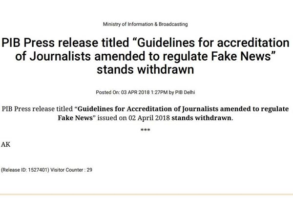 Order to regulate fake news by cancelling accreditation withdrawn