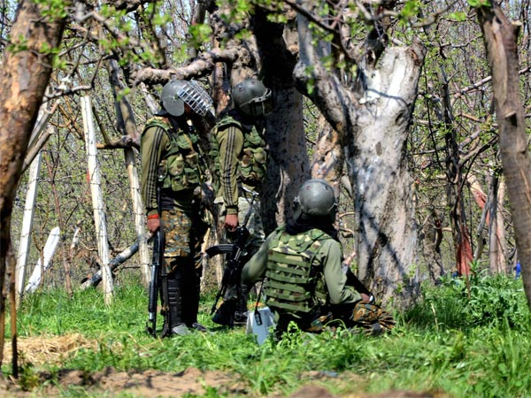 Soldiers take position behind trees during a gun battle in Shopian
