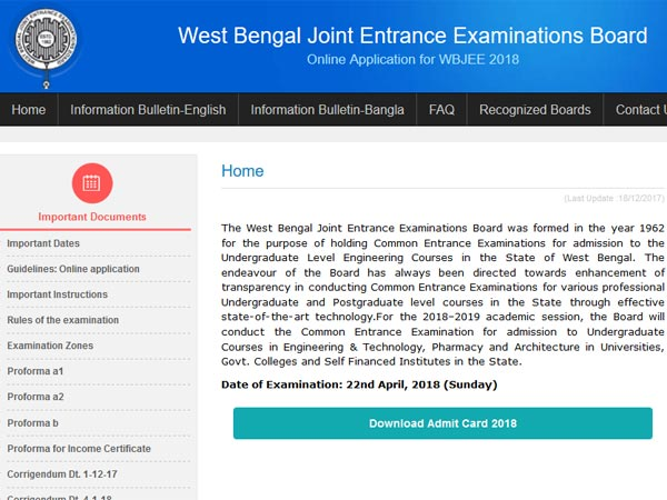 WBJEE admit card 2018 released, steps to download