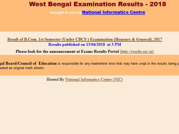 University of Calcutta B.Com 1st Semester result declared, how to check