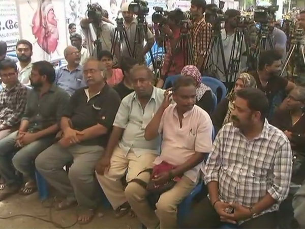 Tamil Nadu film fraternity stage protest in Chennai. Courtesy: ANI news