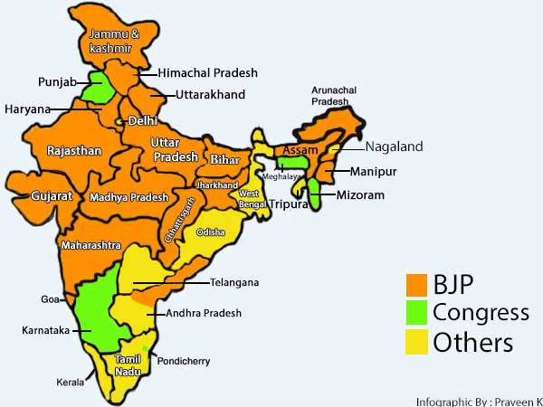 India Map 2017.Infographic States Ruled By The Bjp In 2017 Oneindia News