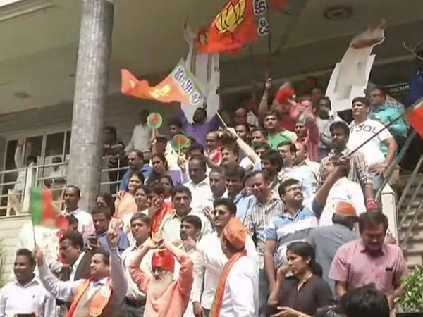 Karnataka election 2018: Celebrations underway at BJP office as they cross halfway mark in leads