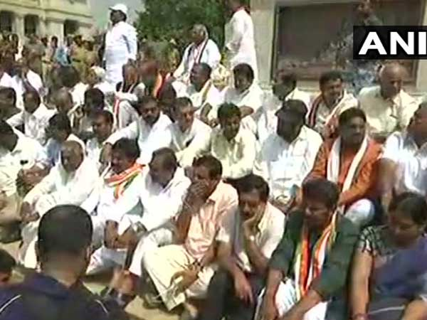 BSYs swearing-in: Congress stages protest outside Vidhana Soudha