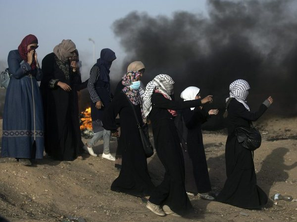 Palestinian women attend a protest at the Gaza Strips border with Israel, Friday, May 18, 2018. (AP/PTI Photo)