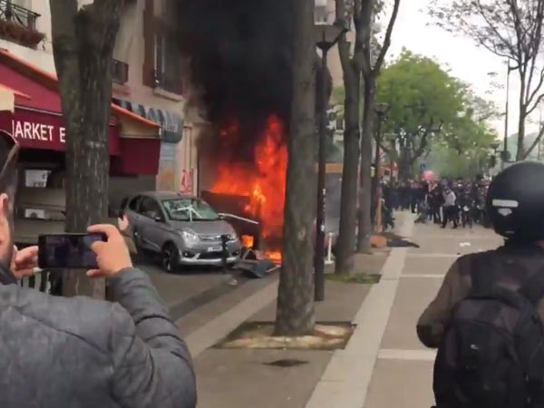 "May Day vandalism in France: Over 100 people held; govt calls protesters ""enemies of democracy"""