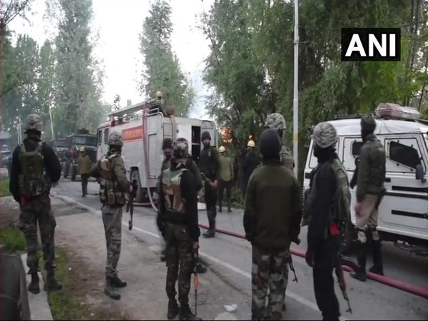 Visuals from encounter site (Image courtesy - ANI/Twitter)
