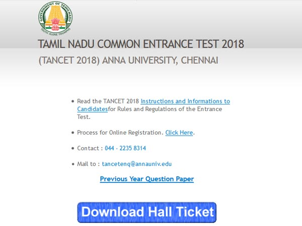TANCET 2018 Hall Ticket released, how to download