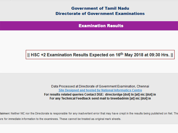 Tamil Nadu Class 12 result 2018 to be declared today