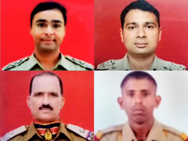 BSF personnel, Assistant Commandant Jitendra Singh (top left) SI Rajneesh Kumar(top right), ASI Ram Niwas (bottom left) and Constable Hans Raj Gujar, who were killed in a ceasefire violation by Pakistan in Ramgarh Sector of Samba district.