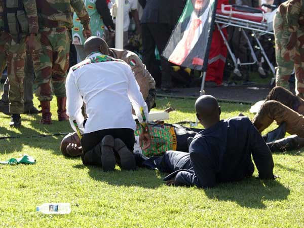 Blast at Zimbabwe president's rally ahead of July 30 election; many injured