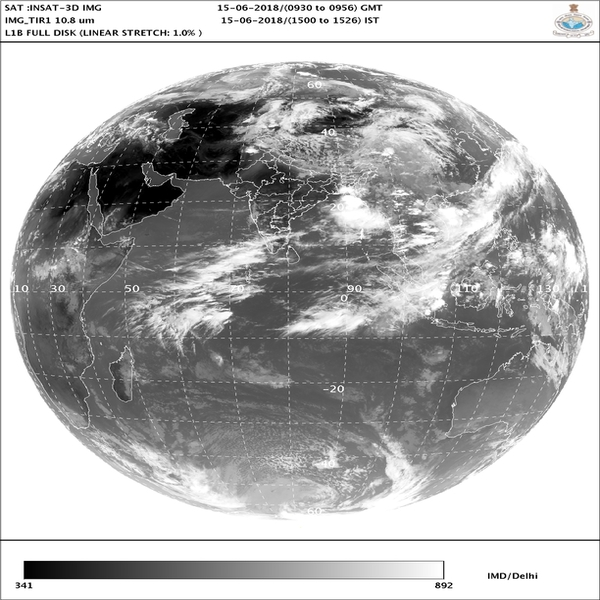 IMDs satellite image showing position of clouds over coastal region