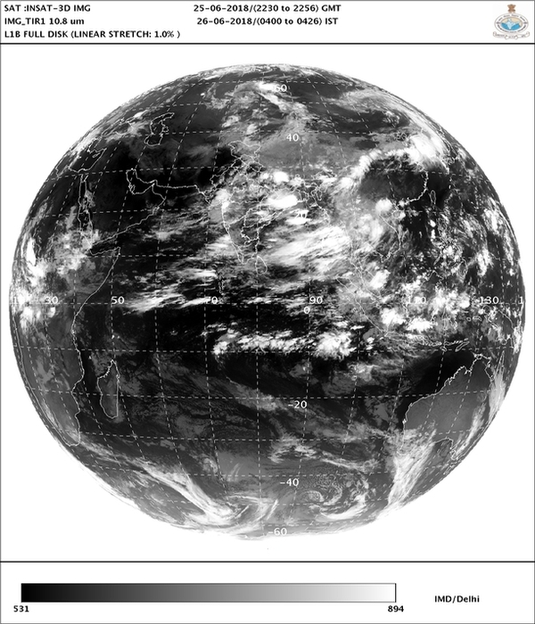 IMDs satellite image of position of clouds over India (June 26)