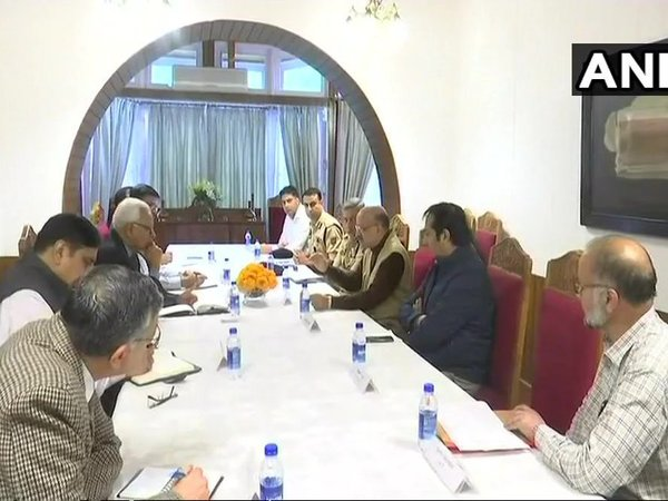 J&K Governor NN Vohra holds emergency meeting flood management meeting at hi s residence. Courtesy: ANI news