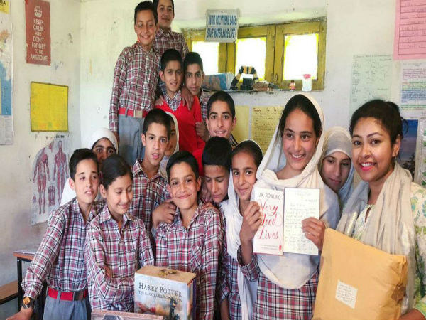 Students of Haji Public School with the gifts sent by JK Rowling