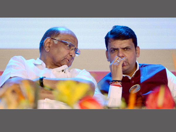 File photo of Maharashtra Chief Minister Devendra Fadnavis and NCP chief Sharad Pawar