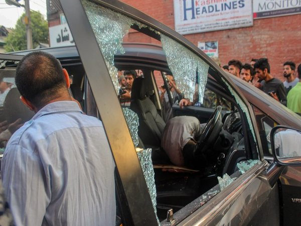 Car in which Shujaat Bukhari was travelling before being shot dead