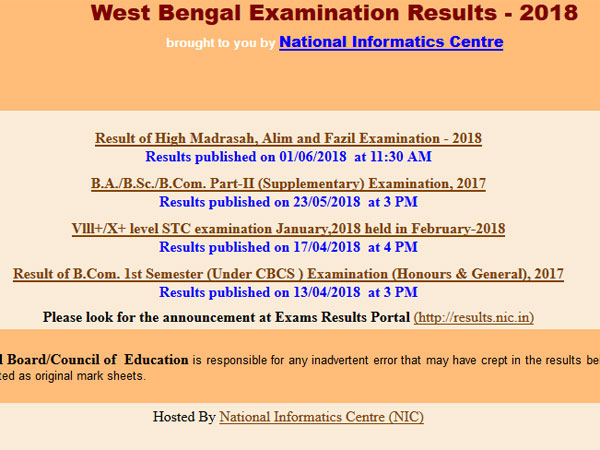 WBCHSE 12th Result 2018 on June 8