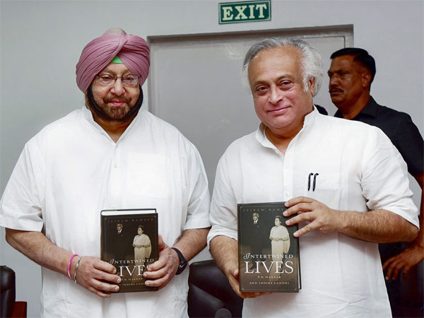 Punjab Chief Minister Captain Amarinder Singh and Congress leader Jairam Ramesh at the release of the latters book Intertwined Minds: PN Haksar and Indira Gandhi, in Chandigarh