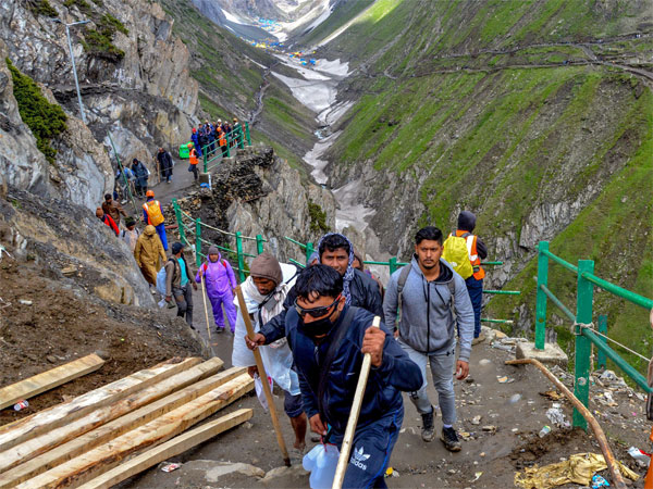 Batch of pilgrims are on their way towards the holy cave shrine of Amarnath