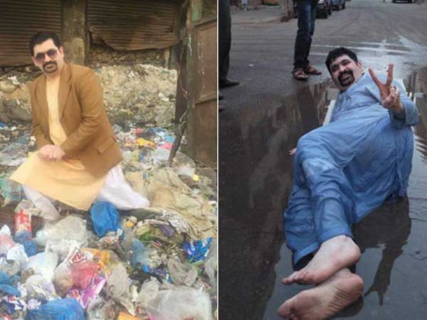 Pak election candidate's bizarre campaigning from manhole, garbage pit