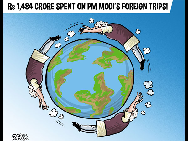 Global roamer PM Modis foreign trips cost Rs. 1,484 Crore