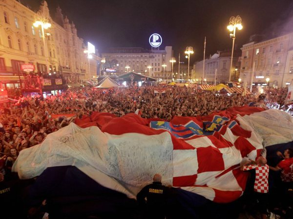 Croatia fans celebrate at the end of the semifinal match between Croatia and England, in Zagreb, Croatia, Wednesday, July 11, 2018. AP/PTI photo