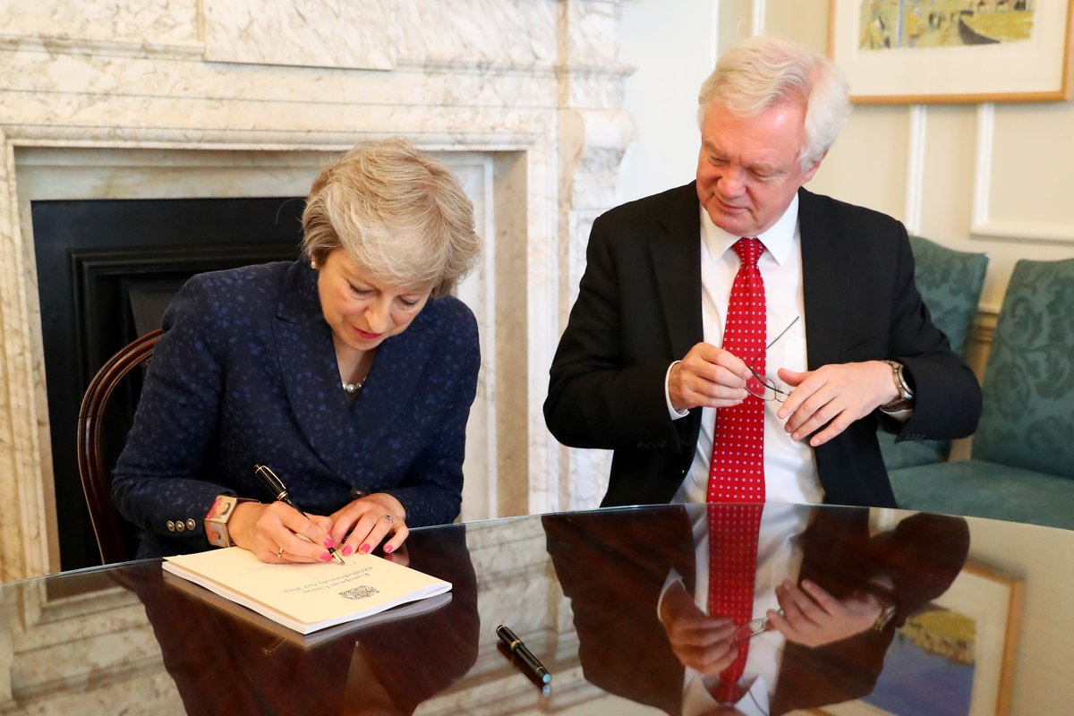 Prime Minister Theresa May and Britains Brexit minister David Davis. Courtesy: @DavidDavisMP