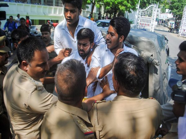 Protestors at Lucknow University being detained by police, in Lucknow on Wednesday, July 04, 2018. PTI photo