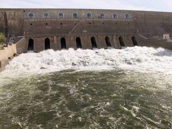 Water gushes out after the release of water from Mettur Dam in Salem. PTI file photo