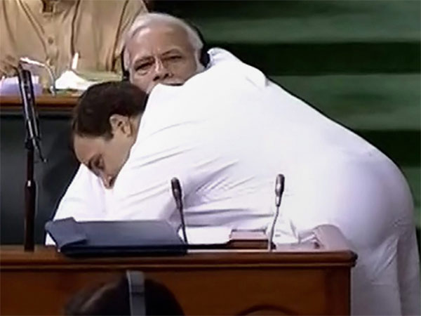 Rahul Gandhi hugging PM Narendra Modi in Lok Sabha. PTI file photo
