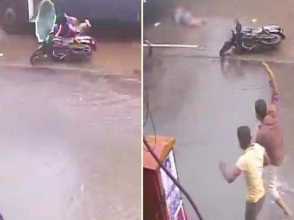 Pothole menace: Woman crushed under speeding bus in Mumbai. Screengrab: YouTube