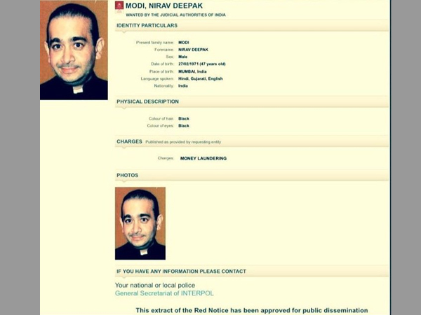 Interpol issues Red Corner Notice against Nirav Modi for money laundering