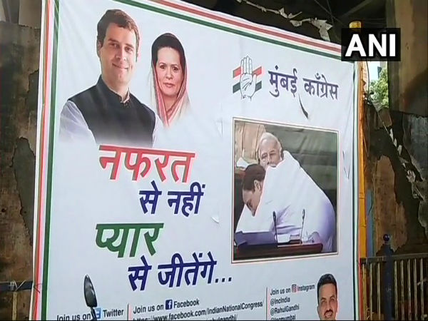 Mumbai: Congress puts up posters of Rahul Gandhi hugging Modi