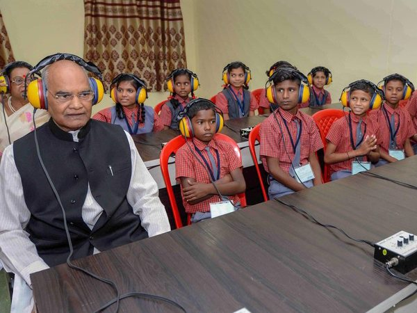 President Ram Nath Kovind interacts with physically-challenged students at Saksham School, in Jawanga, Dantewada on Wednesday, July 25, 2018. PTI photo
