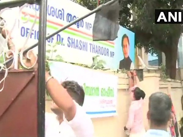 Shashi Tharoors office attacked by BJP workers in Trivandrum