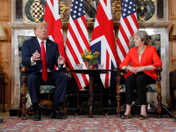 U.S. President Donald Trump with British Prime Minister Theresa May during their meeting at Chequers, in Buckinghamshire, England