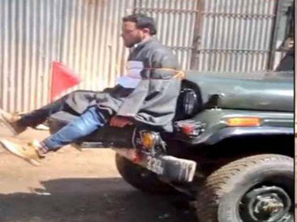 File photo of Farooq Ahmad Dar tied to an army jeep
