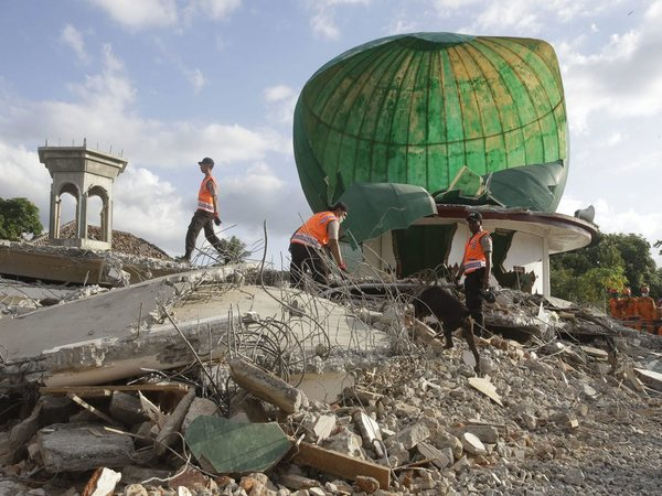 Rescuers with sniffer dog search for victims at a mosque damaged by the earthquake